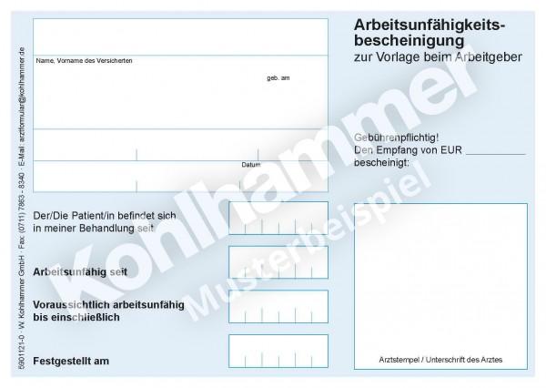 Private Arbeitsunfahigkeitsbescheinigung Kohlhammer Arzteshop