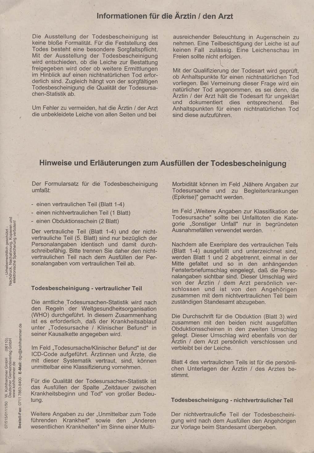 Todesbescheinigung Kohlhammer ärzteshop